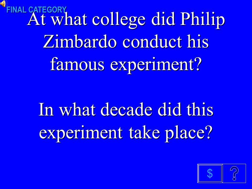 A FAMOUS SOCIAL PSYCH EXPERIMENT $