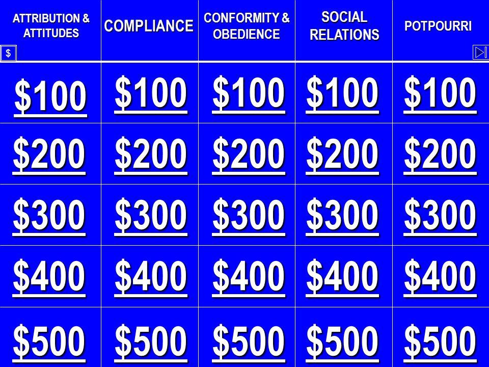 $ CONFORMITY & OBEDIENCE - $500