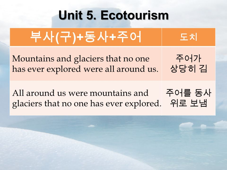 Unit 5. Ecotourism 부사 ( 구 )+ 동사 + 주어 도치 Mountains and glaciers that no one has ever explored were all around us. 주어가 상당히 김 All around us were mountain