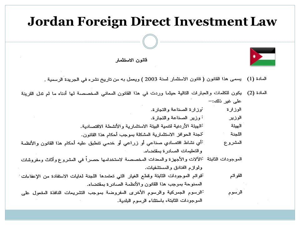 Jordan Foreign Direct Investment Law