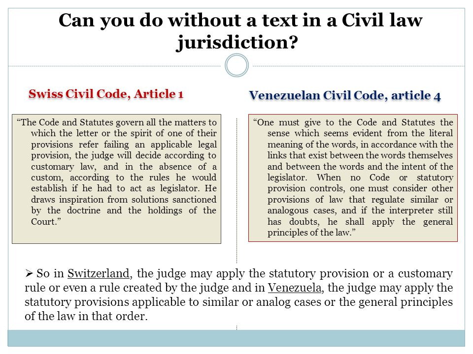 """Swiss Civil Code, Article 1 Venezuelan Civil Code, article 4 Can you do without a text in a Civil law jurisdiction? """"The Code and Statutes govern all"""
