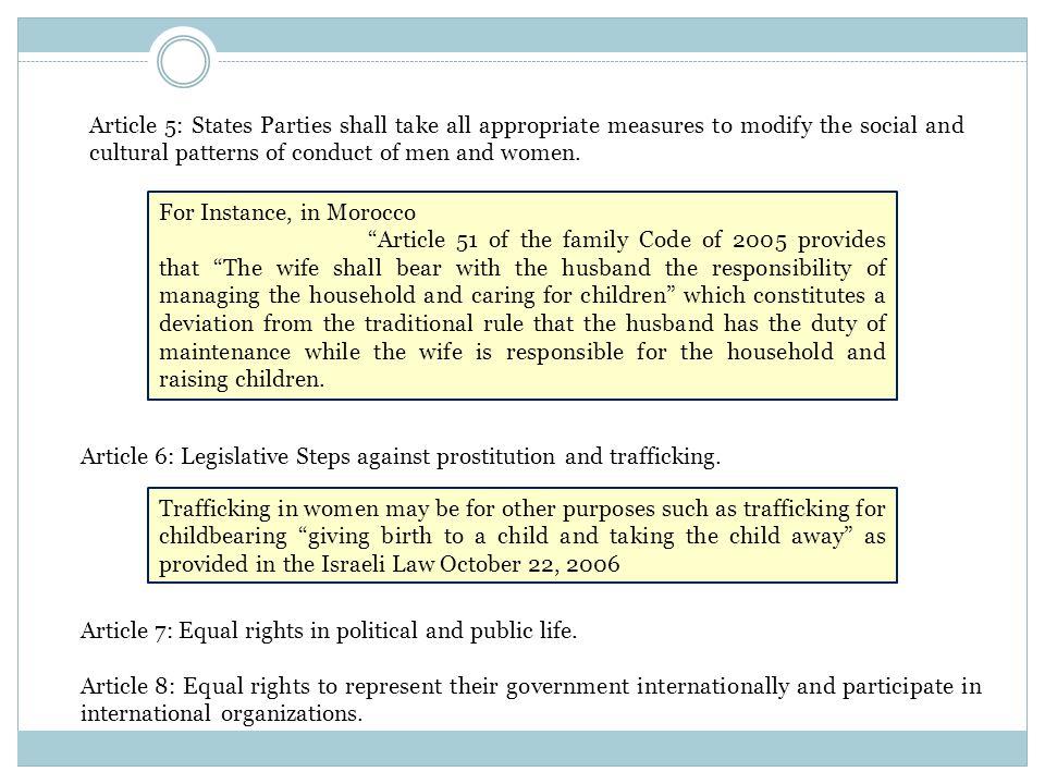 Article 6: Legislative Steps against prostitution and trafficking.