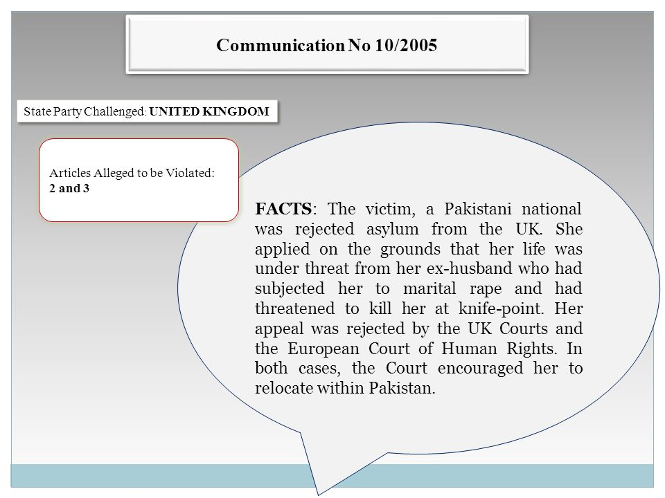 Communication No 10/2005 State Party Challenged : UNITED KINGDOM FACTS: The victim, a Pakistani national was rejected asylum from the UK.