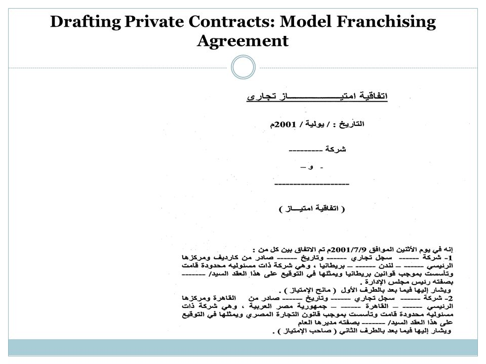 Drafting Private Contracts: Model Franchising Agreement
