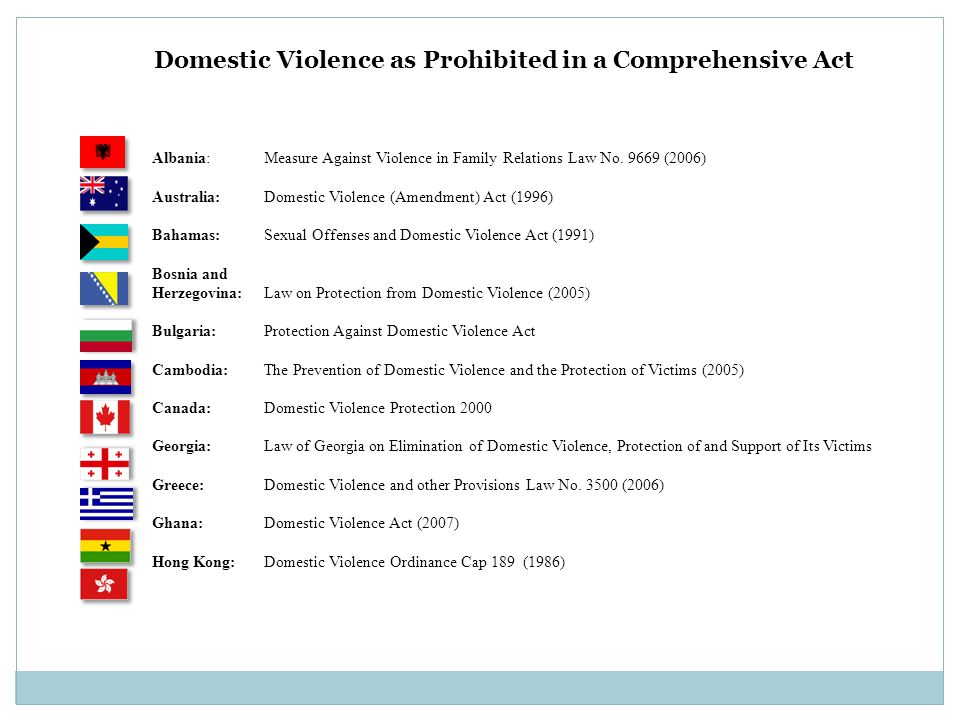 Albania: Measure Against Violence in Family Relations Law No. 9669 (2006) Australia: Domestic Violence (Amendment) Act (1996) Bahamas: Sexual Offenses