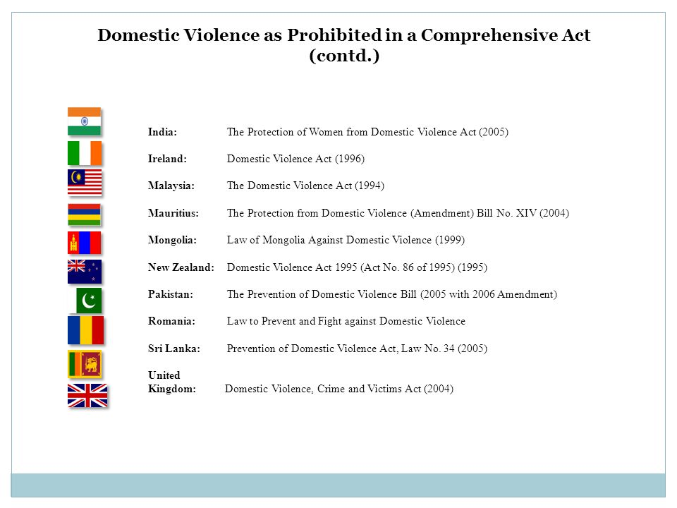 Domestic Violence as Prohibited in a Comprehensive Act (contd.) India: The Protection of Women from Domestic Violence Act (2005) Ireland: Domestic Vio