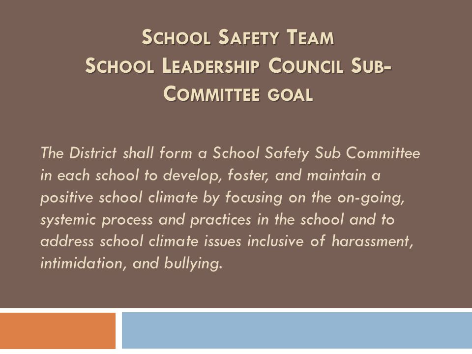 The District shall form a School Safety Sub Committee in each school to develop, foster, and maintain a positive school climate by focusing on the on-