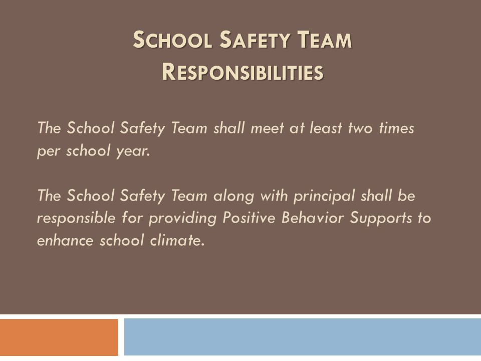 The School Safety Team shall meet at least two times per school year. The School Safety Team along with principal shall be responsible for providing P