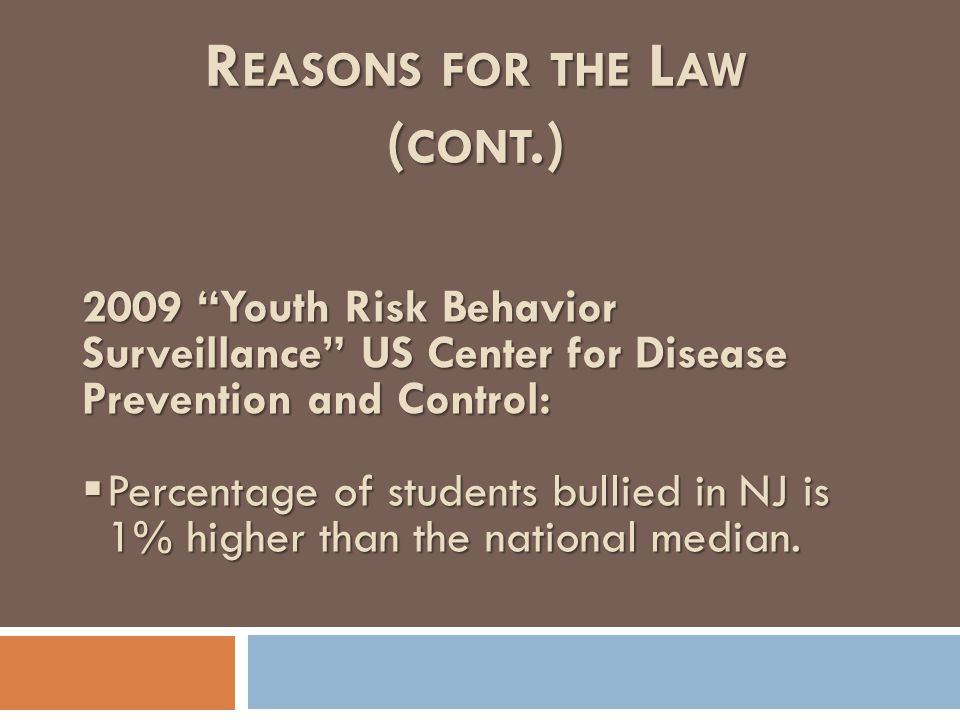"R EASONS FOR THE L AW ( CONT.) 2009 ""Youth Risk Behavior Surveillance"" US Center for Disease Prevention and Control:  Percentage of students bullied"