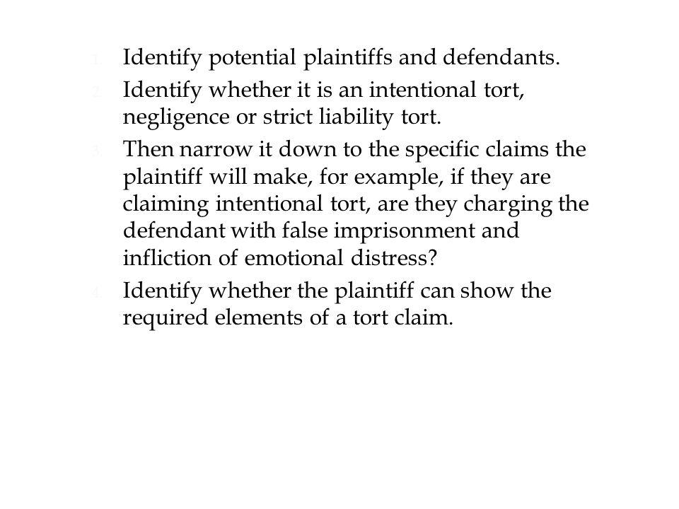 1. Identify potential plaintiffs and defendants. 2.