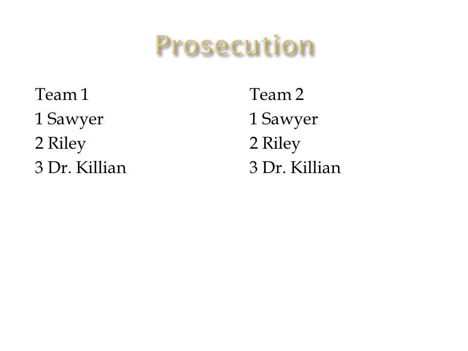 Team 1 1 Sawyer 2 Riley 3 Dr. Killian Team 2 1 Sawyer 2 Riley 3 Dr. Killian