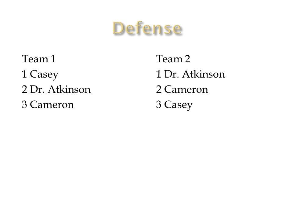 Team 1 1 Casey 2 Dr. Atkinson 3 Cameron Team 2 1 Dr. Atkinson 2 Cameron 3 Casey