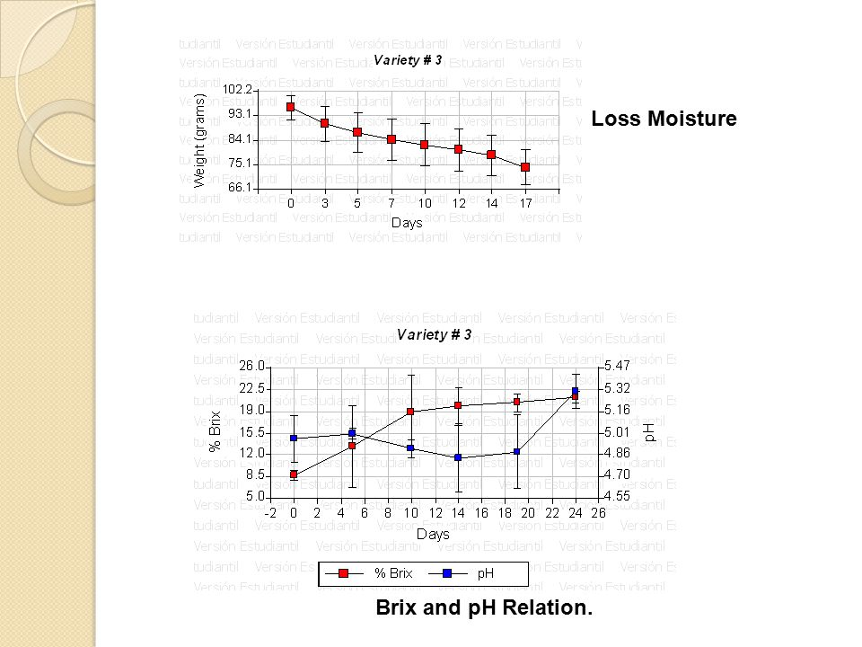 Loss Moisture Brix and pH Relation.
