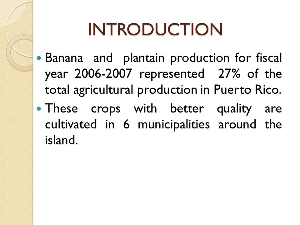 INTRODUCTION Banana and plantain production for fiscal year 2006-2007 represented 27% of the total agricultural production in Puerto Rico.