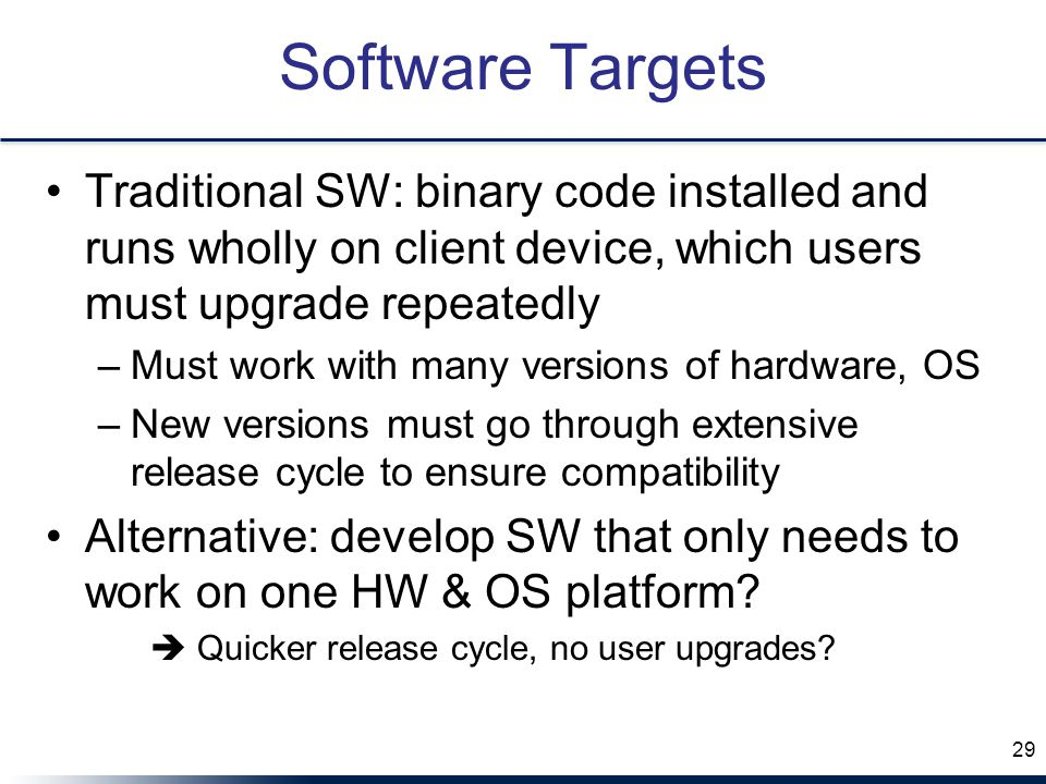 Software Targets Traditional SW: binary code installed and runs wholly on client device, which users must upgrade repeatedly –Must work with many versions of hardware, OS –New versions must go through extensive release cycle to ensure compatibility Alternative: develop SW that only needs to work on one HW & OS platform.