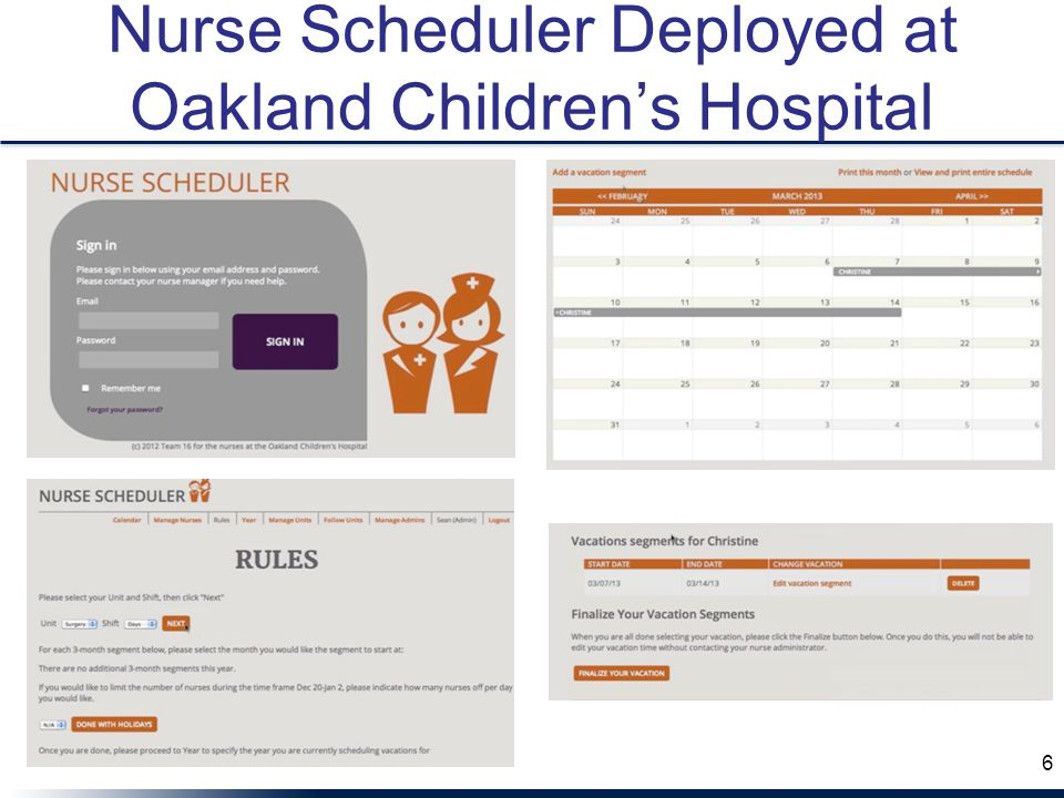 Nurse Scheduler Deployed at Oakland Children's Hospital 6