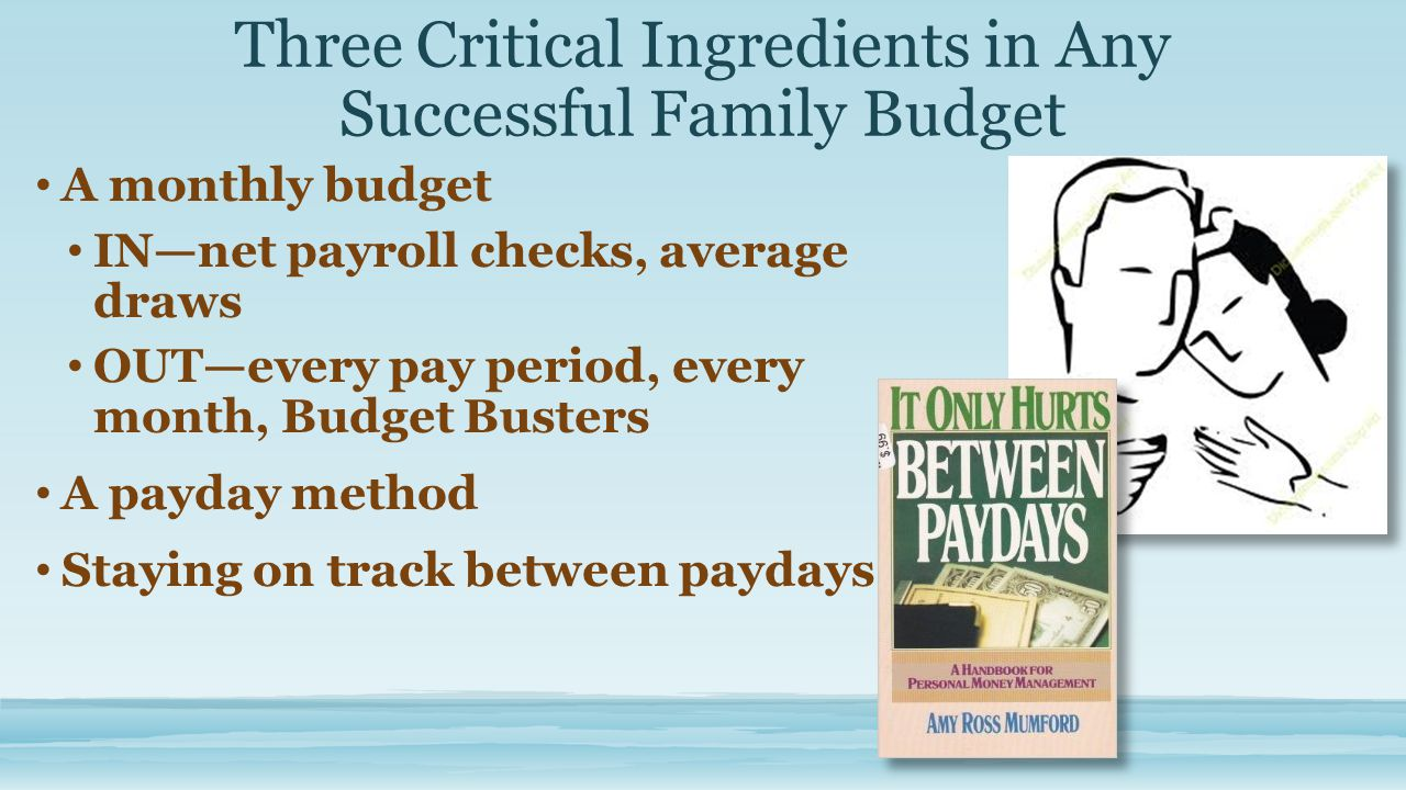 Three Critical Ingredients in Any Successful Family Budget A monthly budget IN—net payroll checks, average draws OUT—every pay period, every month, Budget Busters A payday method Staying on track between paydays