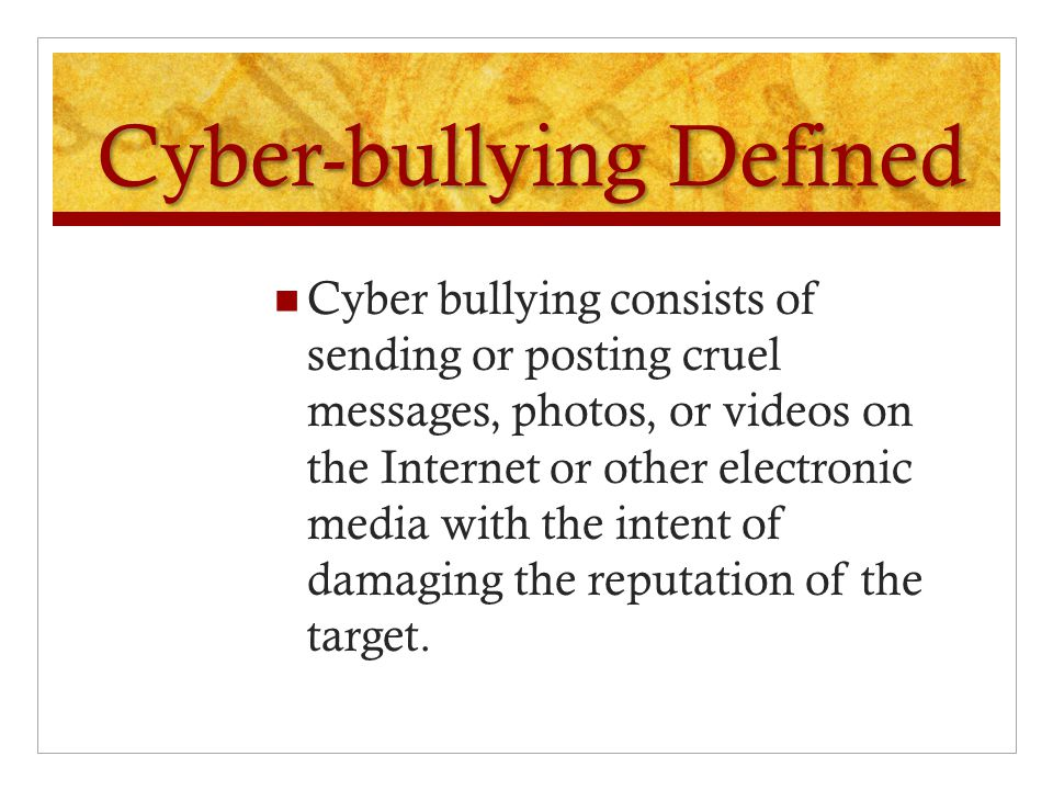 Bullying Defined Any act that is intended to cause physical or emotional harm to another person.