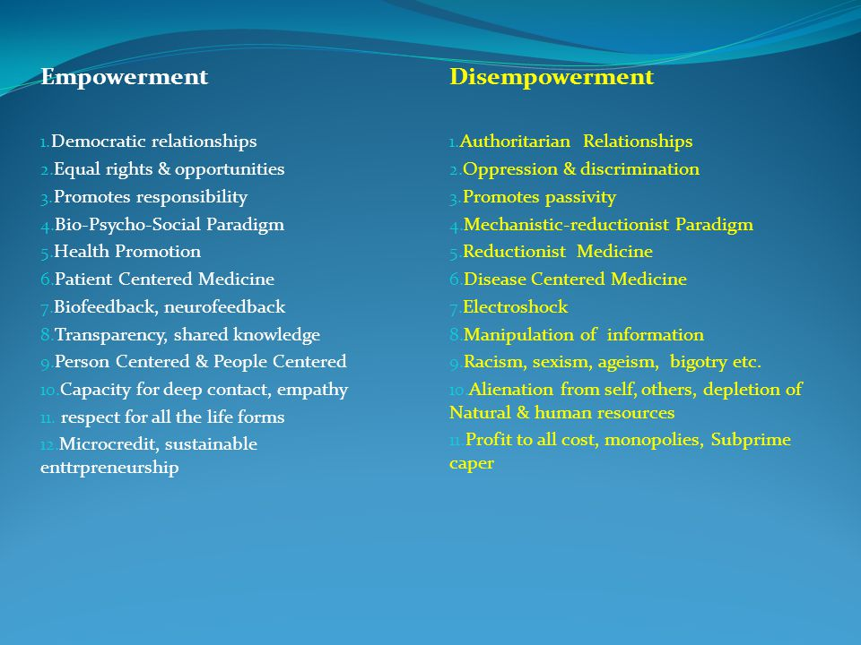Disempowerment 1. Authoritarian Relationships 2. Oppression & discrimination 3.