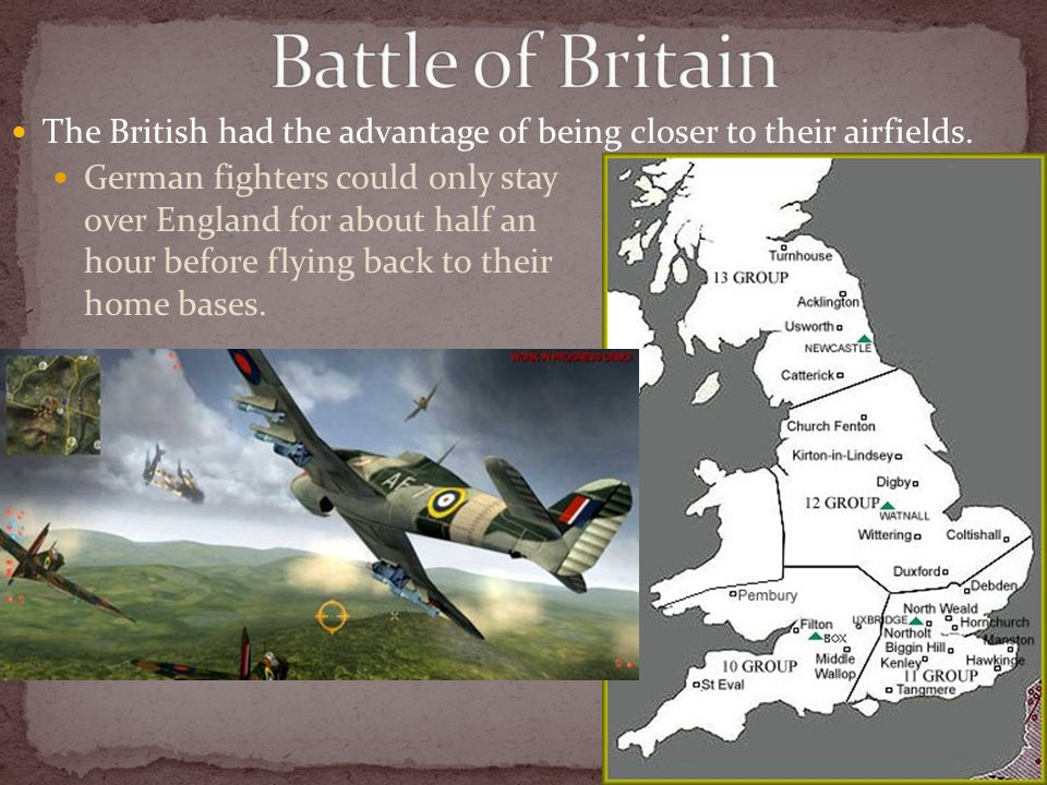 The British had the advantage of being closer to their airfields. German fighters could only stay over England for about half an hour before flying ba