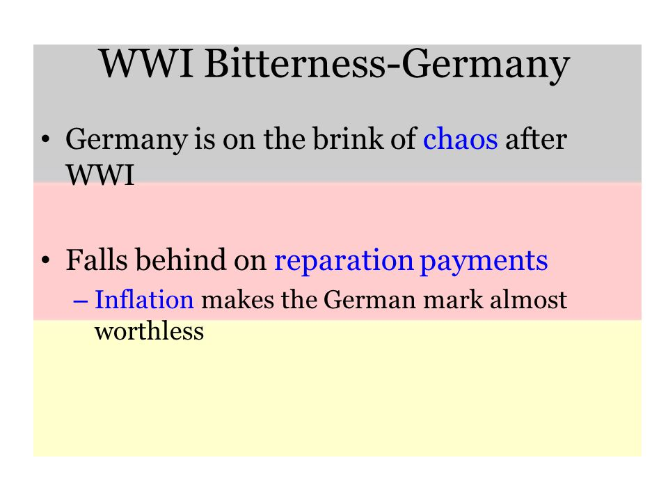 WWI Bitterness-Germany Germany is on the brink of chaos after WWI Falls behind on reparation payments – Inflation makes the German mark almost worthless