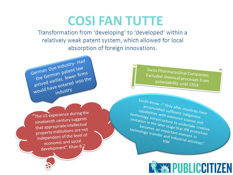 COSI FAN TUTTE Transformation from 'developing' to 'developed' within a relatively weak patent system, which allowed for local absorption of foreign innovations.