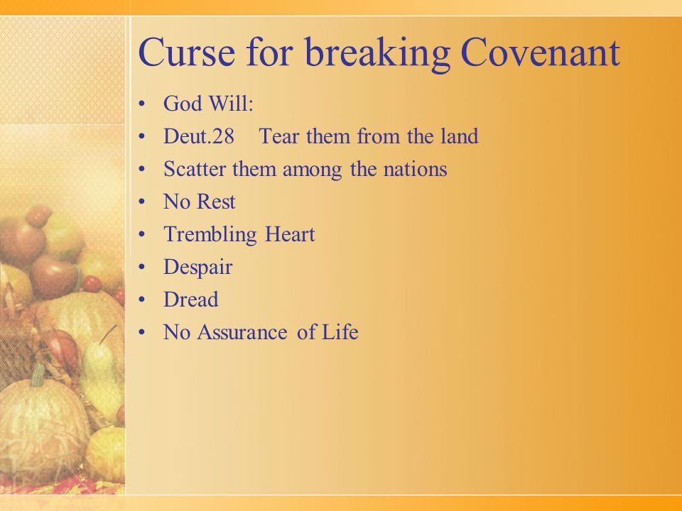Curse for breaking Covenant God Will: Deut.28 Tear them from the land Scatter them among the nations No Rest Trembling Heart Despair Dread No Assurance of Life