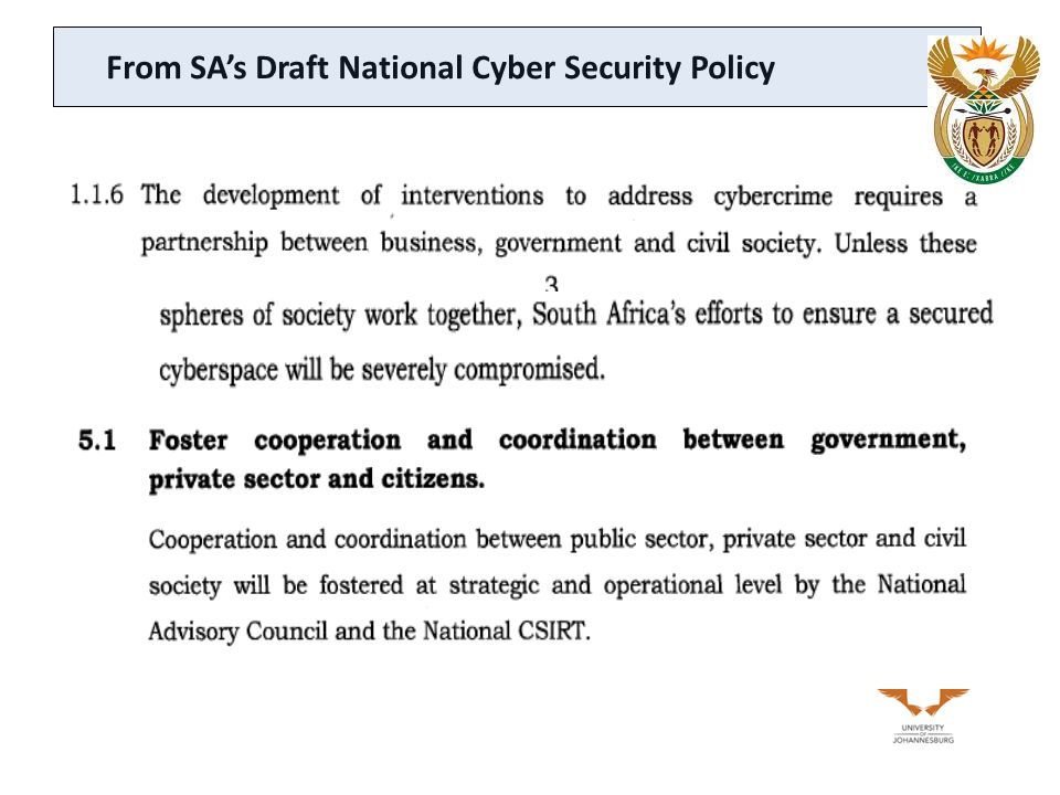 From SA's Draft National Cyber Security Policy
