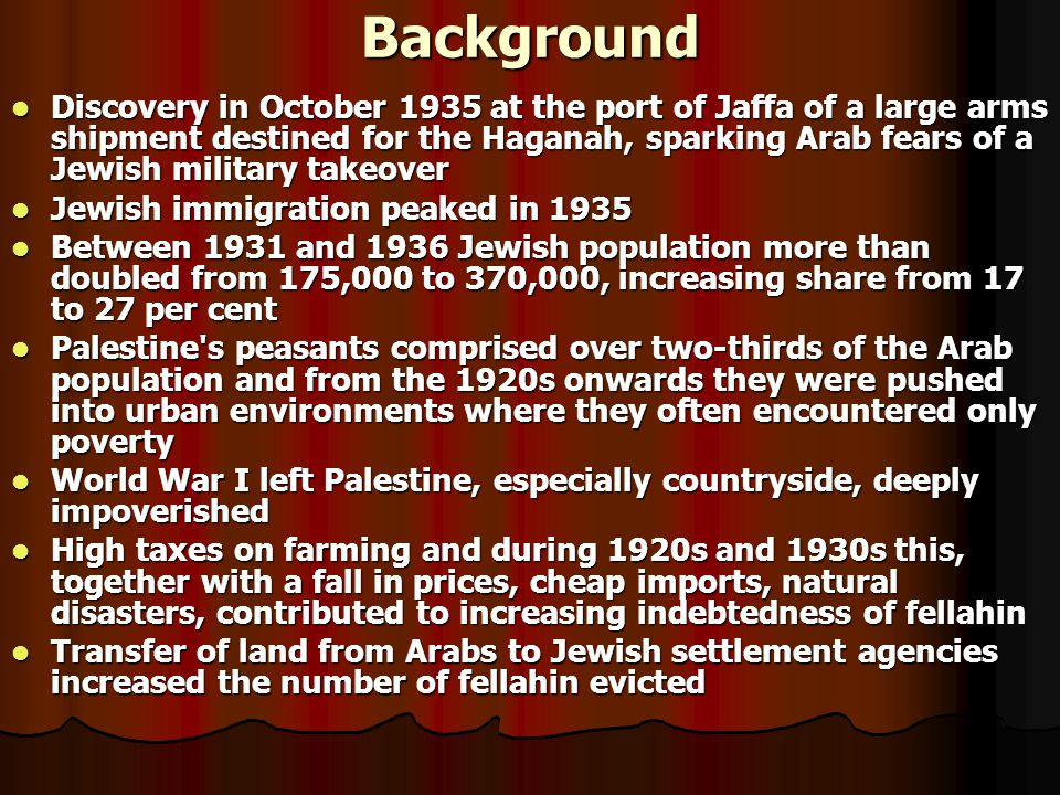 Tensions in Palestine Increasing influx of Jews from Europe Increasing influx of Jews from Europe Purchase of Arab lands by Jews Purchase of Arab land