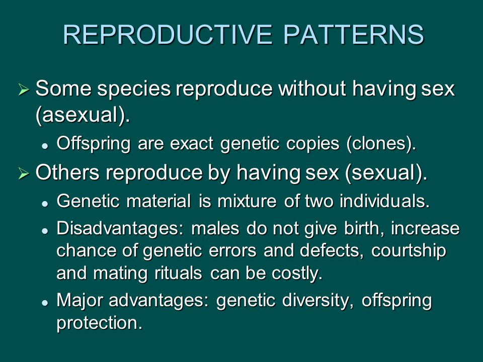 REPRODUCTIVE PATTERNS  Some species reproduce without having sex (asexual).