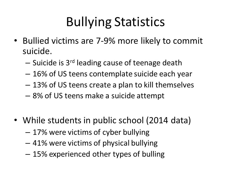 Bullying Statistics Bullied victims are 7-9% more likely to commit suicide.