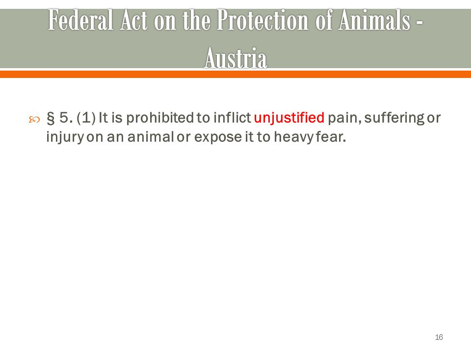  § 5. (1) It is prohibited to inflict unjustified pain, suffering or injury on an animal or expose it to heavy fear. 16