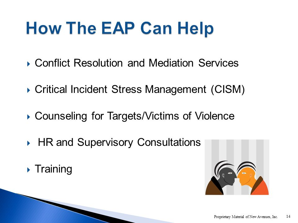  Conflict Resolution and Mediation Services  Critical Incident Stress Management (CISM)  Counseling for Targets/Victims of Violence  HR and Supervisory Consultations  Training 14 Proprietary Material of New Avenues, Inc.