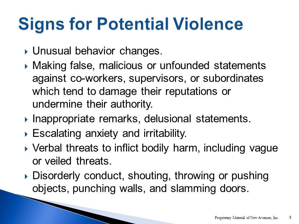 Unusual behavior changes.