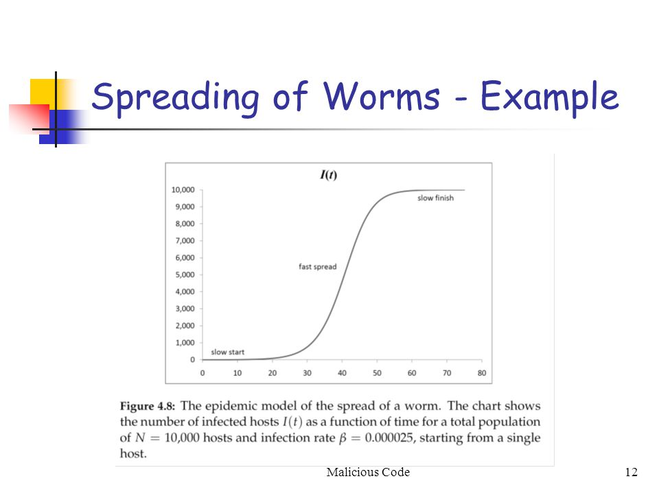 Malicious Code12 Spreading of Worms - Example