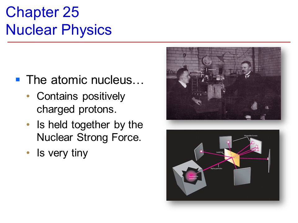 Chapter 25 Nuclear Physics  The atomic nucleus… Contains positively charged protons. Is held together by the Nuclear Strong Force. Is very tiny