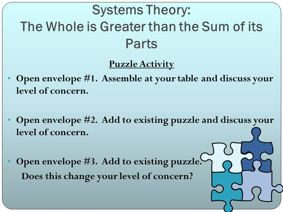 Systems Theory: The Whole is Greater than the Sum of its Parts Puzzle Activity Open envelope #1.