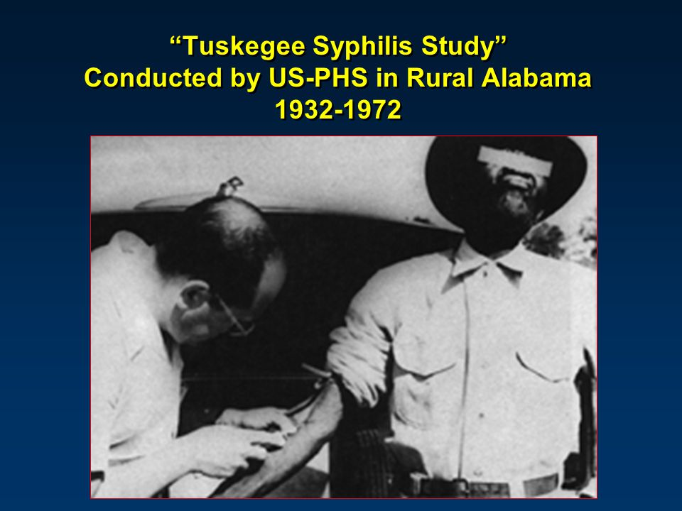 """Tuskegee Syphilis Study"" Conducted by US-PHS in Rural Alabama 1932-1972"