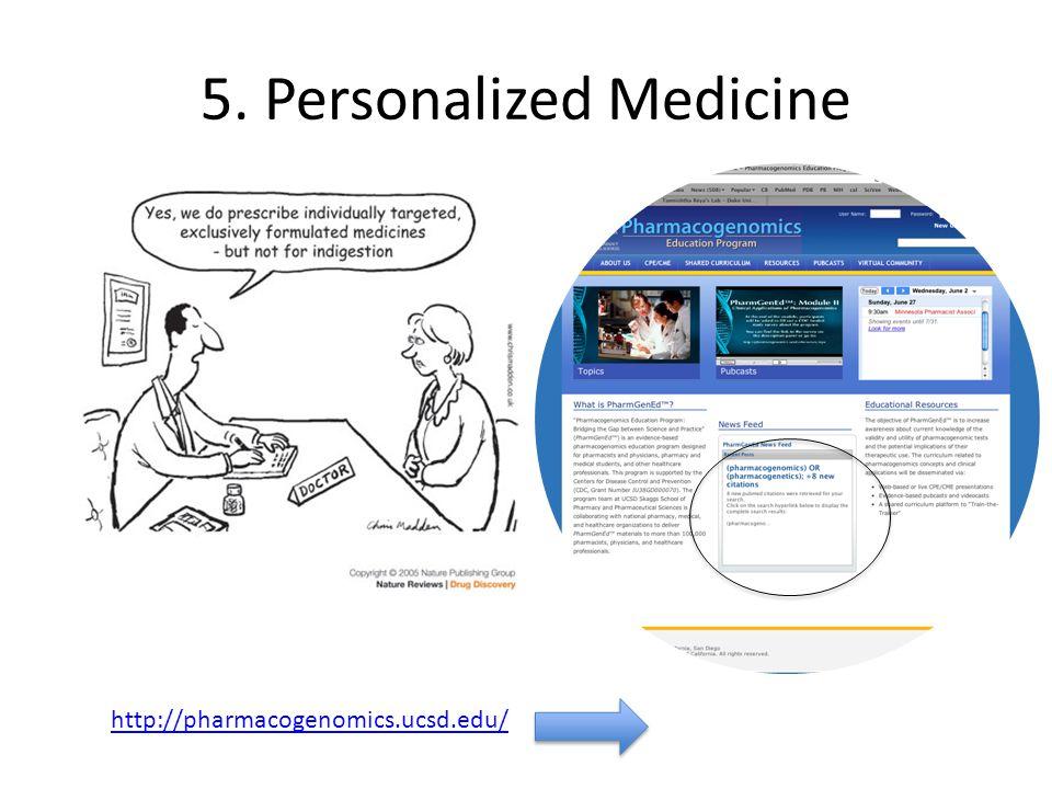 5. Personalized Medicine http://pharmacogenomics.ucsd.edu/