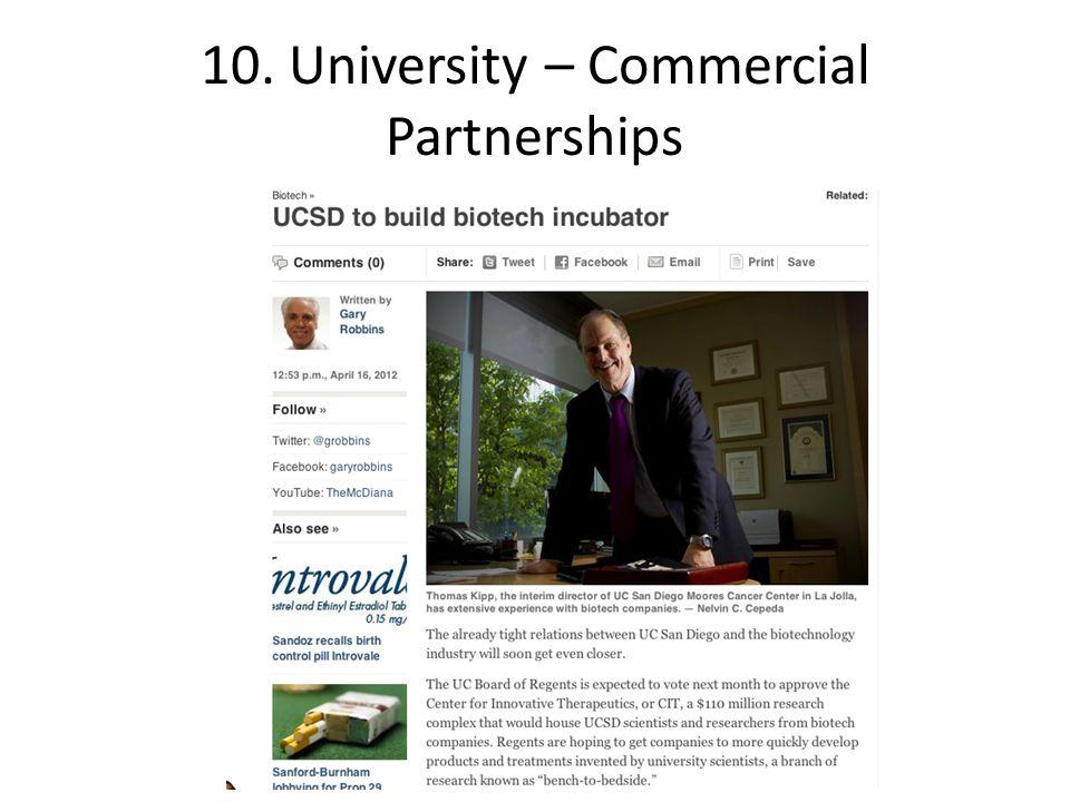 10. University – Commercial Partnerships