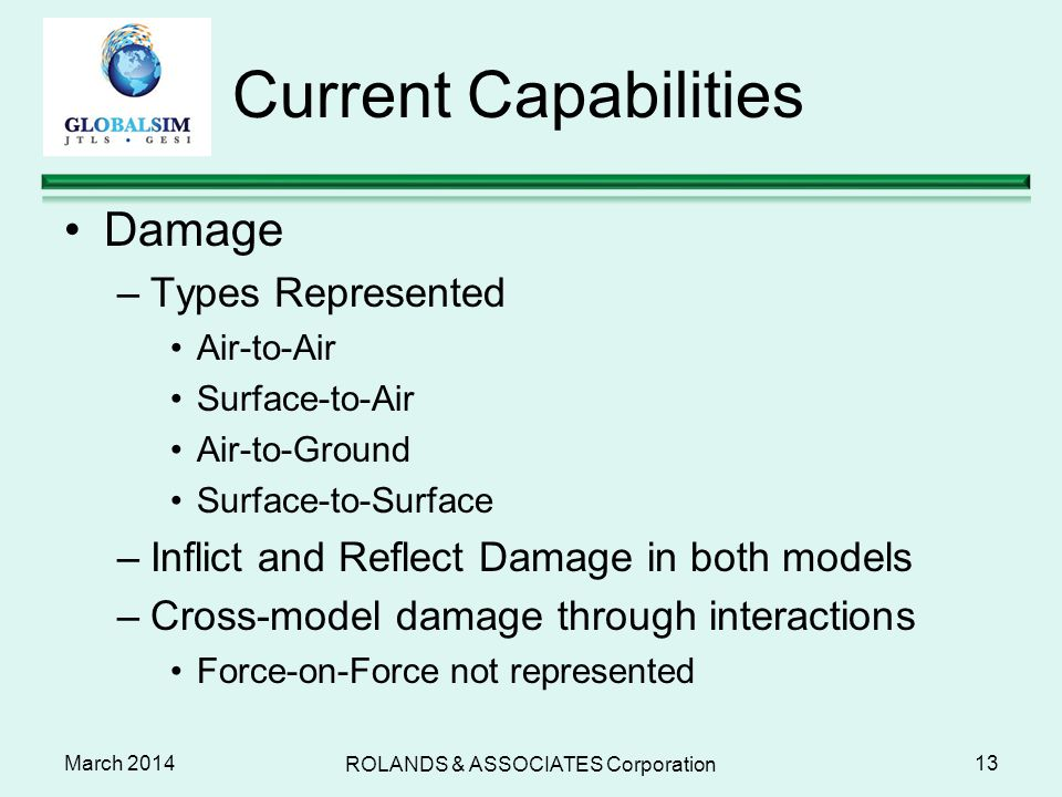 March 2014 Current Capabilities Damage –Types Represented Air-to-Air Surface-to-Air Air-to-Ground Surface-to-Surface –Inflict and Reflect Damage in bo