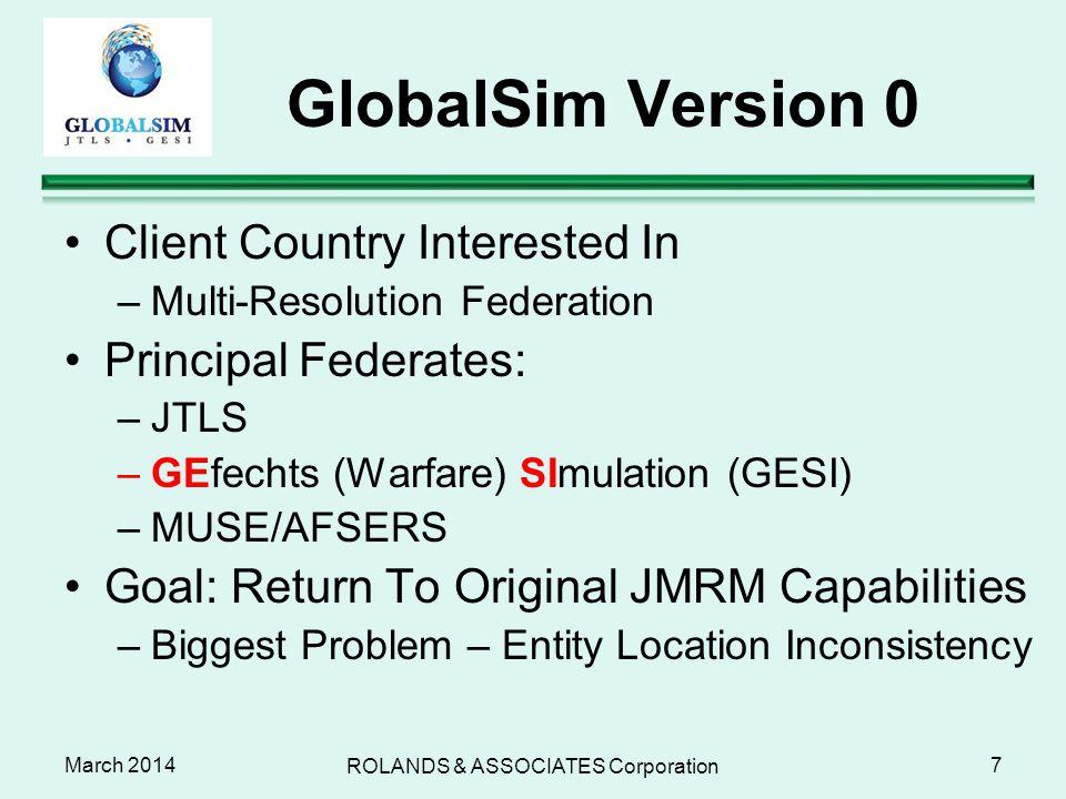 March 2014 GlobalSim Version 0 Client Country Interested In –Multi-Resolution Federation Principal Federates: –JTLS –GEfechts (Warfare) SImulation (GE