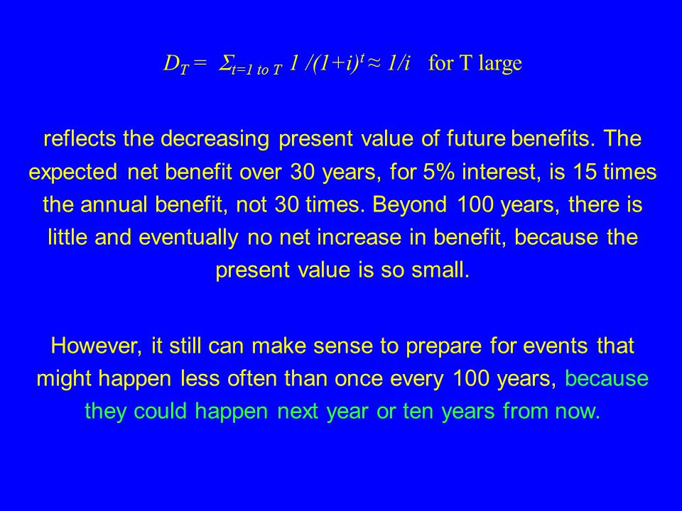 Assume the major costs are incurred in year 0, and from then on annual costs and benefits are the same. We don't know when there will be benefits, so