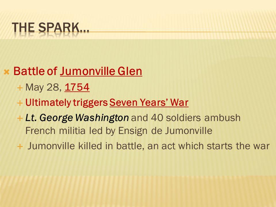  Battle of Jumonville Glen  May 28, 1754  Ultimately triggers Seven Years' War  Lt.
