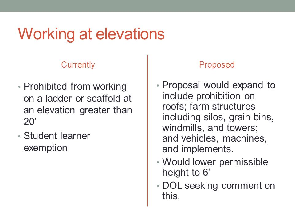 Working at elevations Currently Prohibited from working on a ladder or scaffold at an elevation greater than 20' Student learner exemption Proposed Proposal would expand to include prohibition on roofs; farm structures including silos, grain bins, windmills, and towers; and vehicles, machines, and implements.