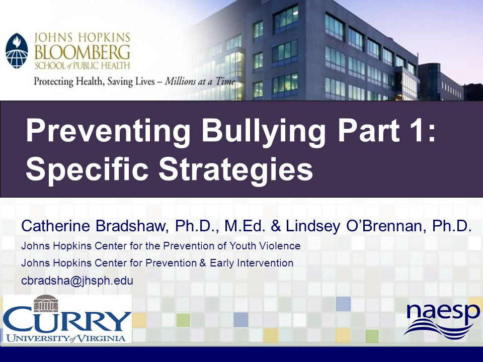 Olweus Program (cont.) School-wide Components Establish Bullying Prevention Coordinating Committee (BPCC) Develop school policy on bullying and introduce school- wide rules and consequences Administer survey to assess hot spots for bullying School Classroom Individual Community Parents