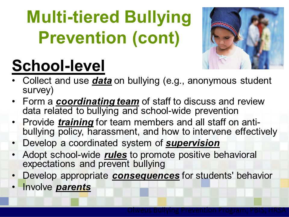 Multi-tiered Bullying Prevention (cont) School-level Collect and use data on bullying (e.g., anonymous student survey) Form a coordinating team of sta