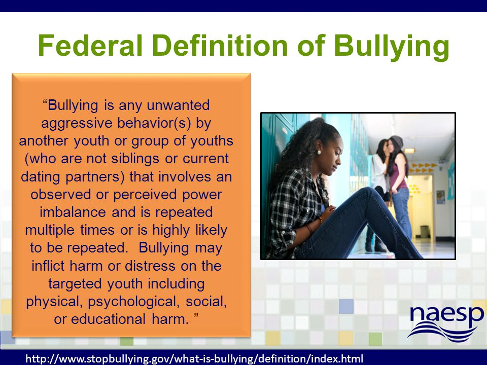 1.Involves an intentional aggressive behavior 2.Typically involves a pattern of behavior repeated over time 3.Imbalance of power or strength Key Components of Bullying Behavior