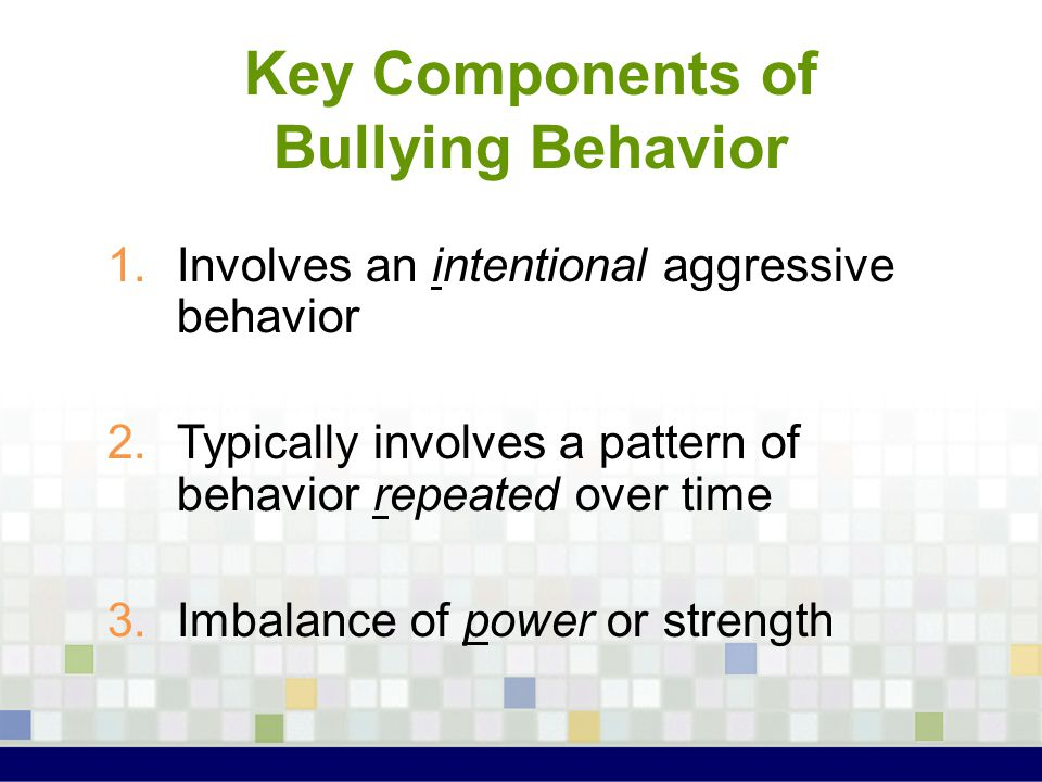 Preventing Bullying at School 1.Supervise students' activities 2.Ensure that all staff intervene on-the-spot when bullying occurs 3.Hold meetings with students involved in bullying 4.Develop individual intervention plans for involved students