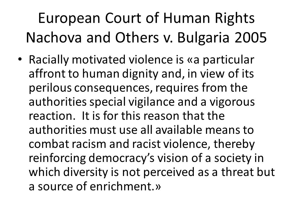 European Court of Human Rights Nachova and Others v.